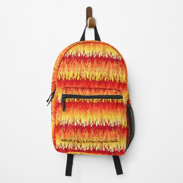Red Hot Rod Flames Pattern Backpack
