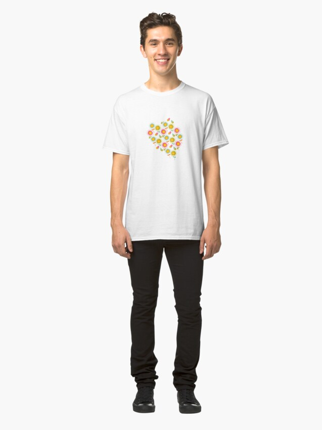 Alternate view of Colorful daisies with butterflies Classic T-Shirt