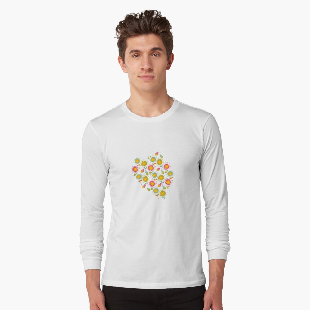 Colorful daisies with butterflies Long Sleeve T-Shirt