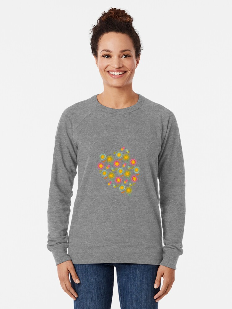 Alternate view of Colorful daisies with butterflies Lightweight Sweatshirt