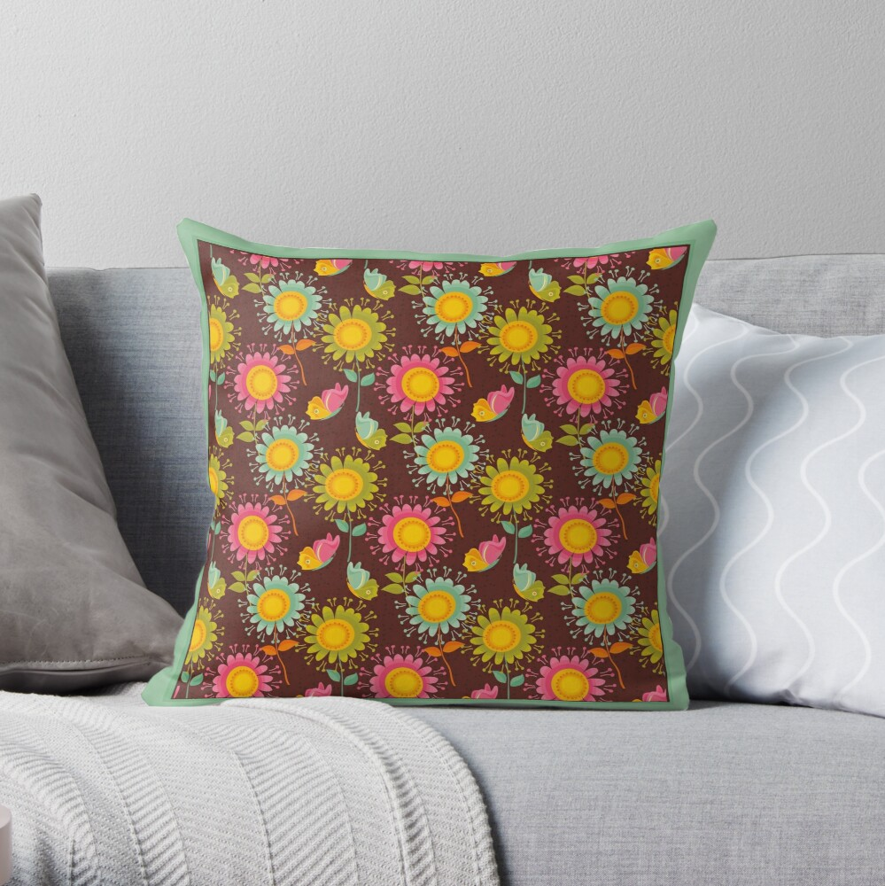 Colorful daisies with butterflies Throw Pillow