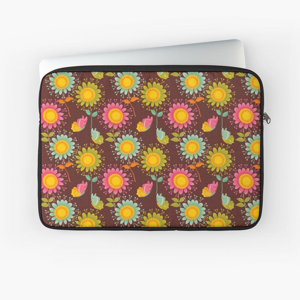 Colorful daisies with butterflies Laptop Sleeve