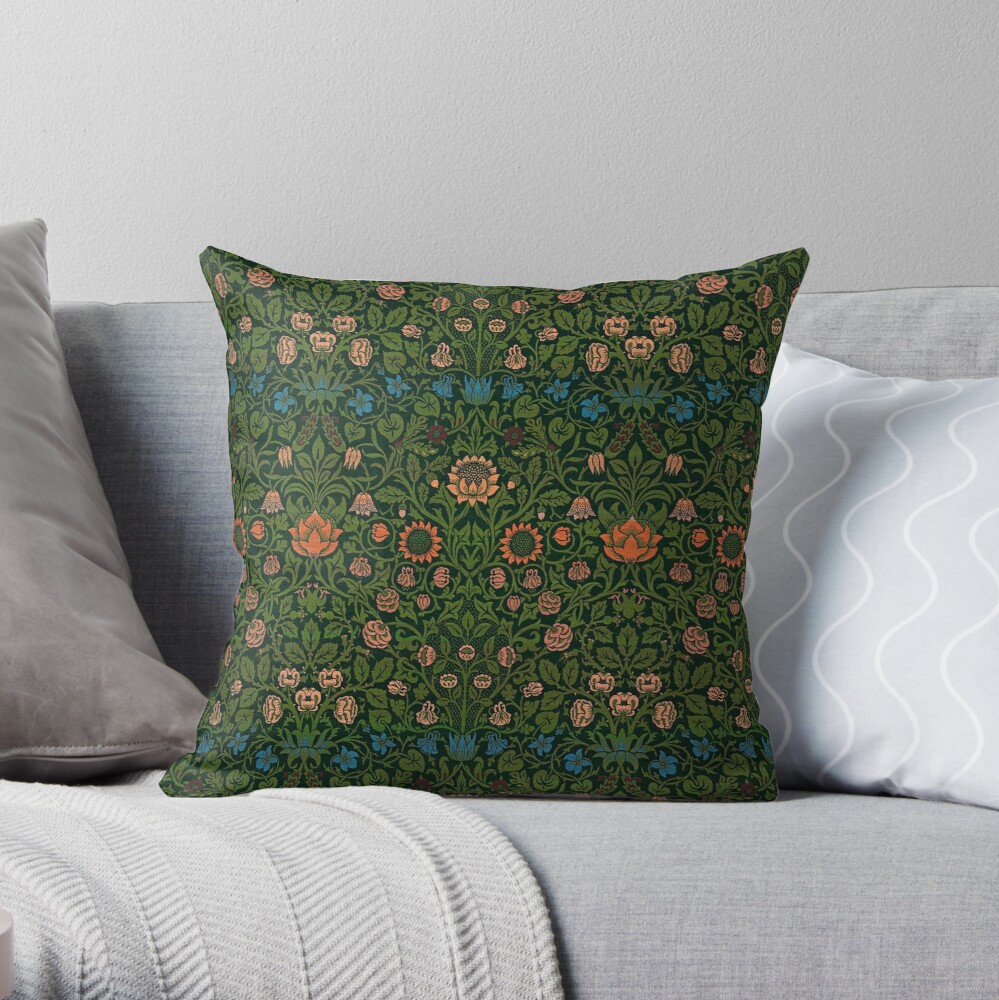 Violet and Columbine by William Morris, 1883 Throw Pillow