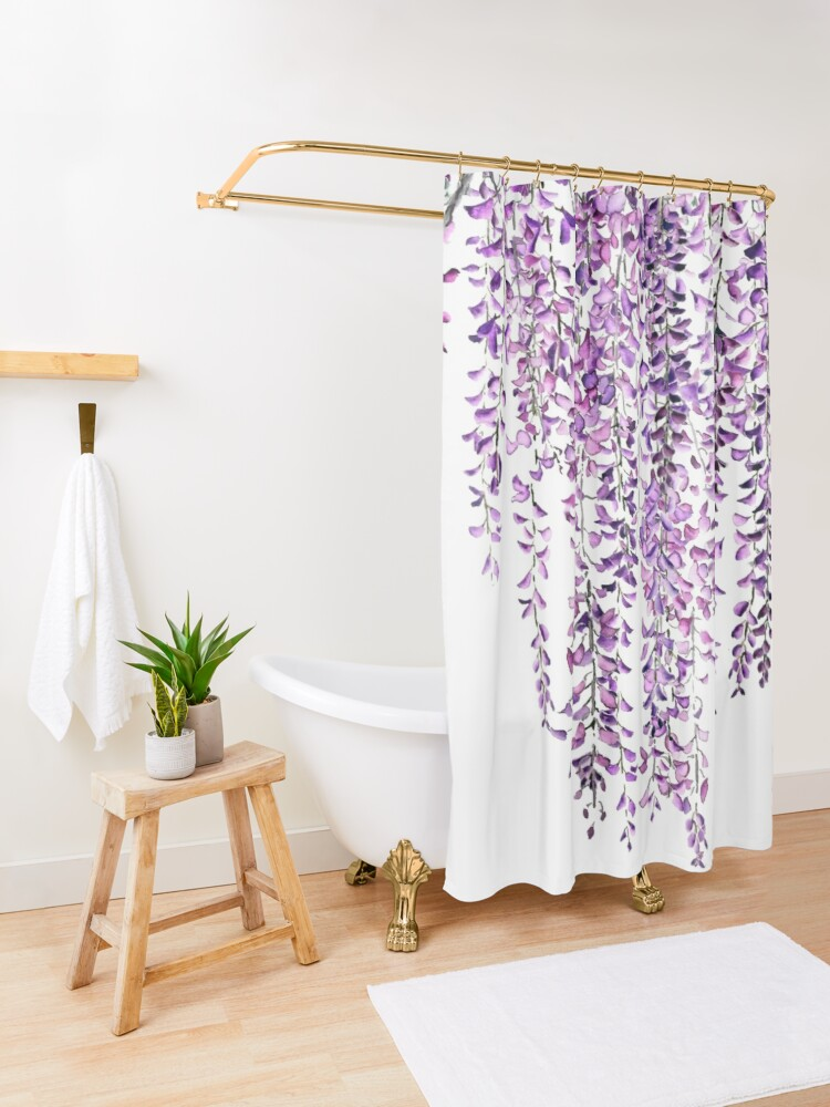 Alternate view of purple wisteria  in bloom  Shower Curtain