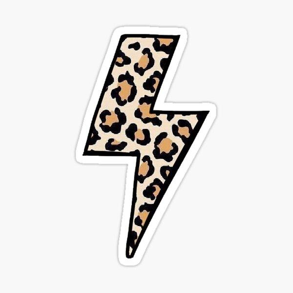 Cheetah Print Lightning Bolt Sticker
