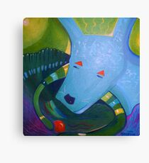 Blue Dog with Orange Ball Canvas Print