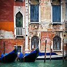 Gondolas, The Grand Canal, Venice, Italy by Giles Clare