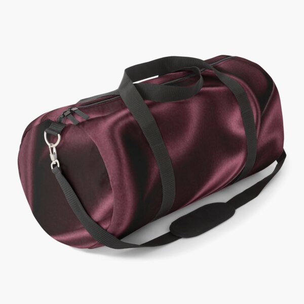 Red Burgundy Wine Folded Satin Silk Abstract Textures Fabric Cloth Soft Duffle Bag