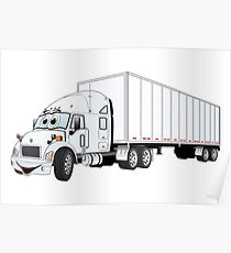 Semi Truck White Trailer Poster