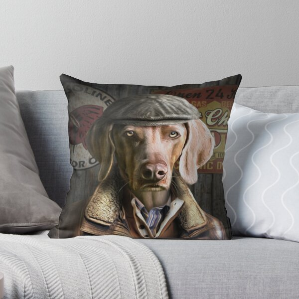 Weimaraner Dog Portrait - Wilbur Throw Pillow