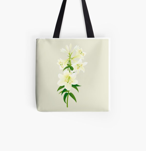White Lily All Over Print Tote Bag