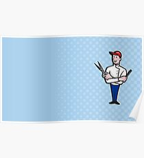 Barber Comb and Scissors Cartoon Poster