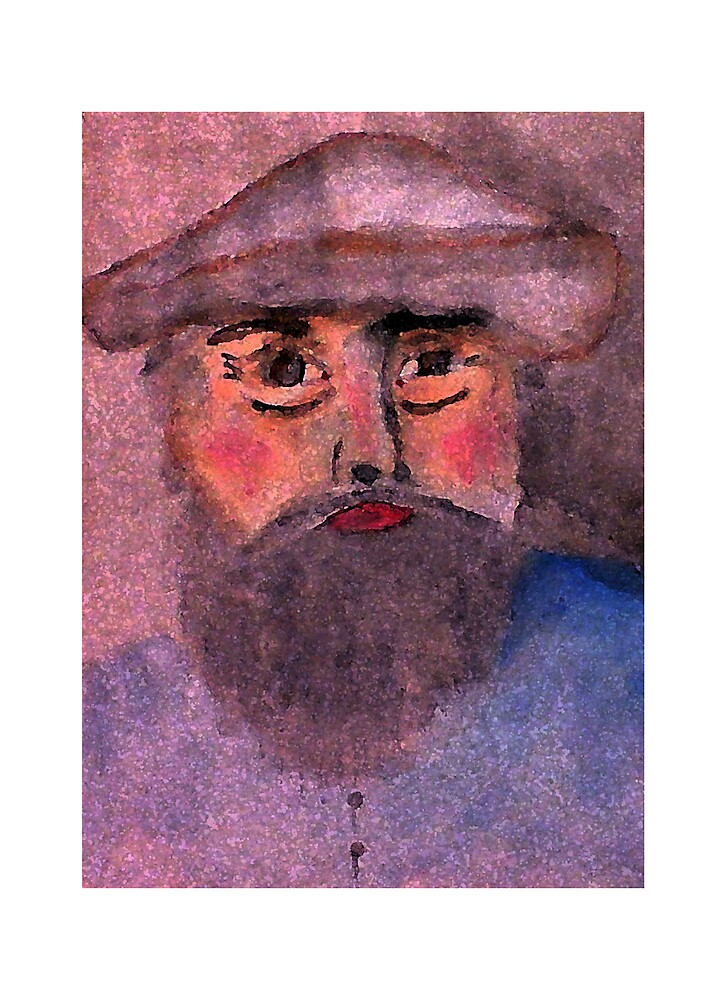 Camille Pissarro a self portrait, in my version, watercolor by Anna  Lewis, blind artist