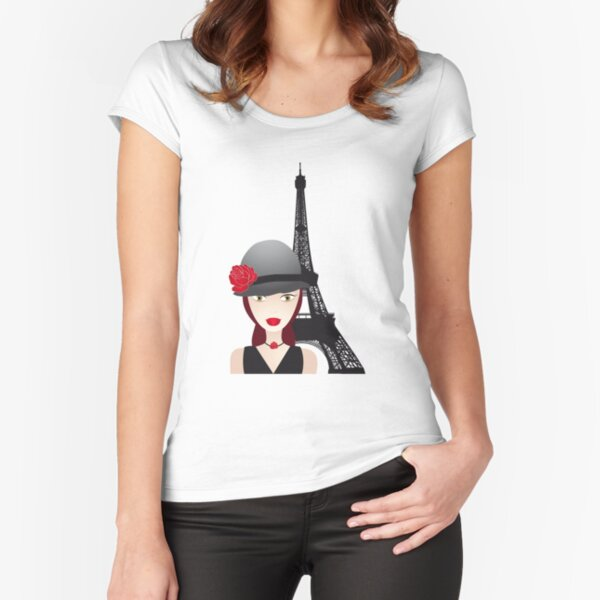 Vintage poster with beautiful girl in paris Fitted Scoop T-Shirt