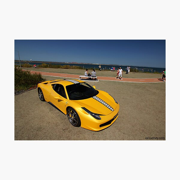 Yellow Ferrari 458 Italia Photographic Print