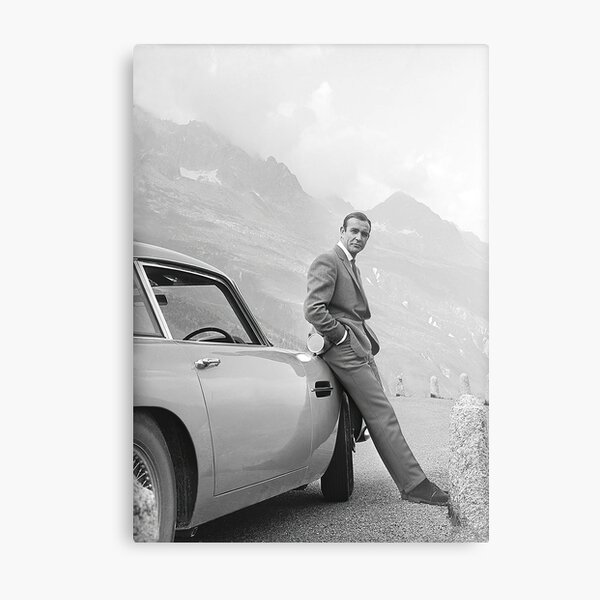 Sean Connery and Sports Car, Black and White Vintage Art Metal Print