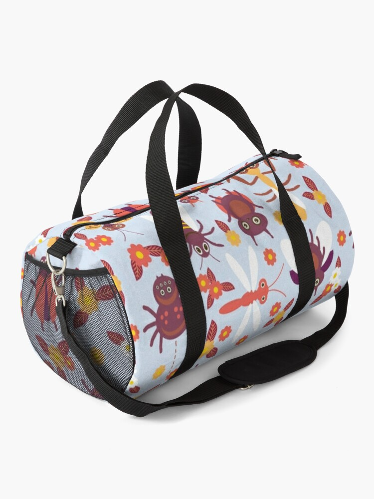 Alternate view of Funny insects Spider butterfly caterpillar dragonfly mantis beetle wasp ladybugs  Duffle Bag