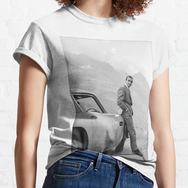 Sean Connery and Sports Car, Black and White Vintage Art Classic T-Shirt