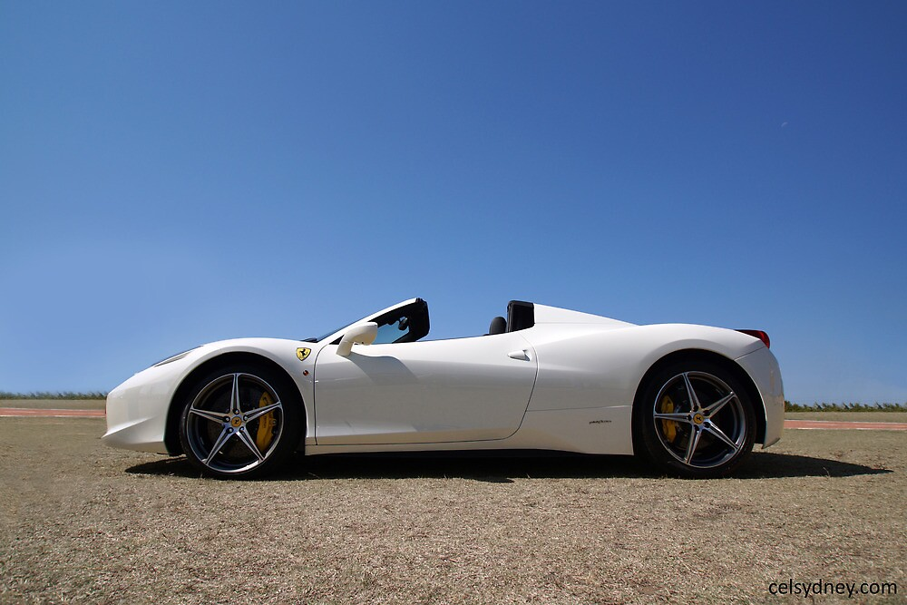 white ferrari 458 spider by celsydney - Ferrari 458 Blue And White