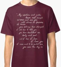 Pride and Prejudice, Darcy (white) quote Classic T-Shirt