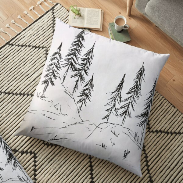 Pine trees on mountain Floor Pillow