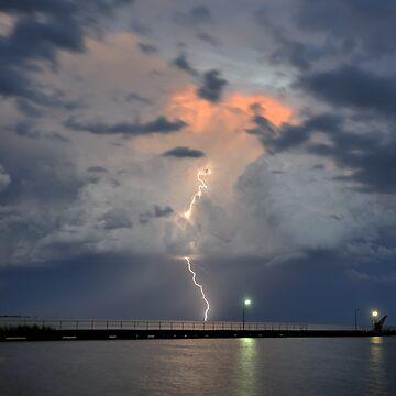 Lightning over Lake Alexandrena, Milang, SA by Malleescapes