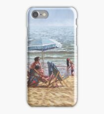 people on bournemouth beach parasol iPhone Case/Skin