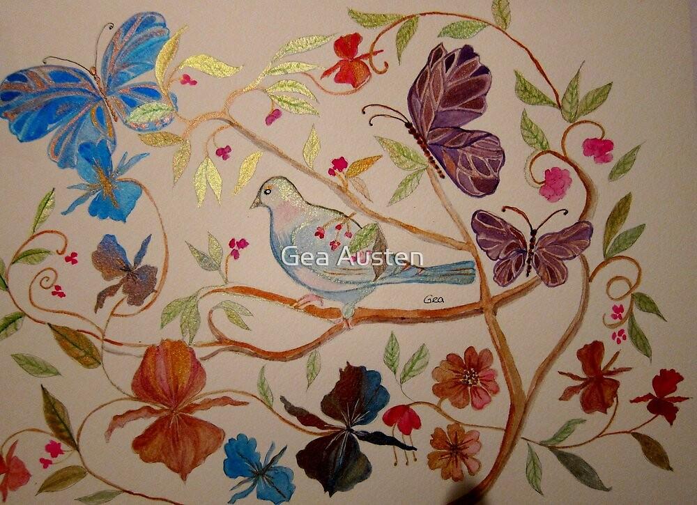 BIRD IN FLOWERS 7 by Gea Jones