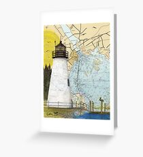 Concord Point Lighthouse MD Nautical Chart Peek Greeting Card