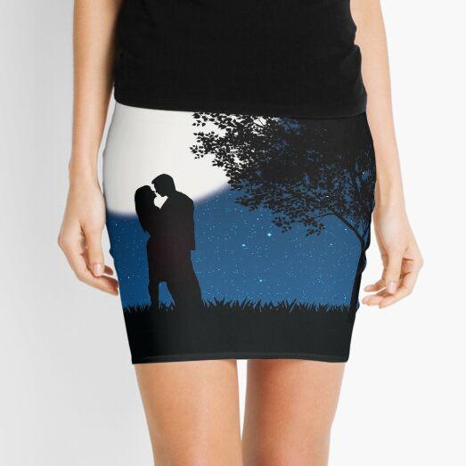 Silhouette Night Love Scene Mini Skirt