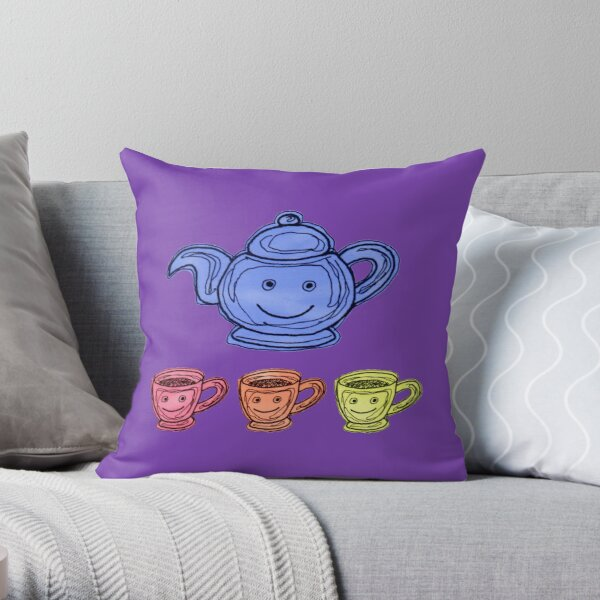 Teapot and Cup colour illustration Throw Pillow