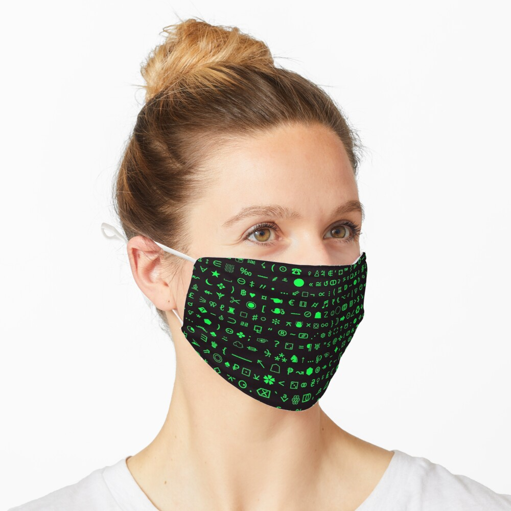 Esoteric Symbols face mask in Green/Black Mask