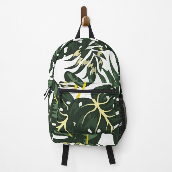 Botanical seamless pattern with tropical plants leaves Backpack