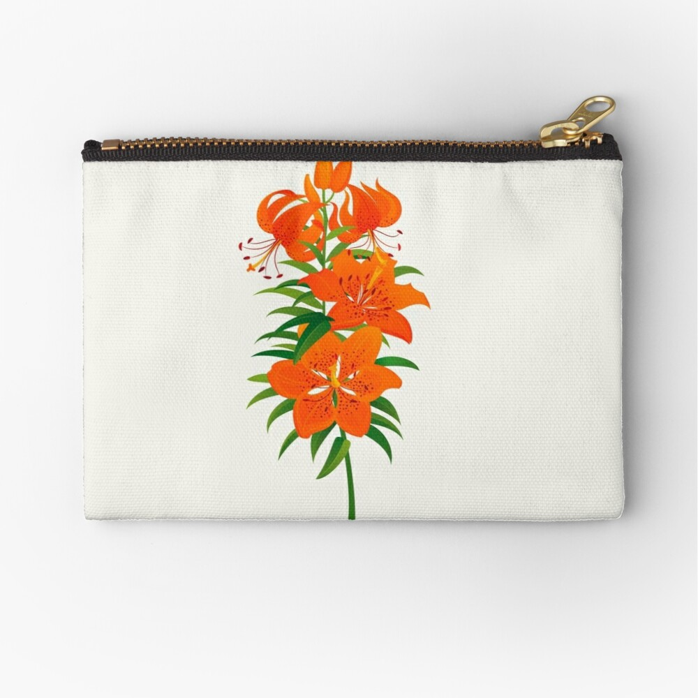Red Lily Zipper Pouch