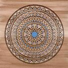 Hand Drawn Brown And Blue Mandala by Zedart