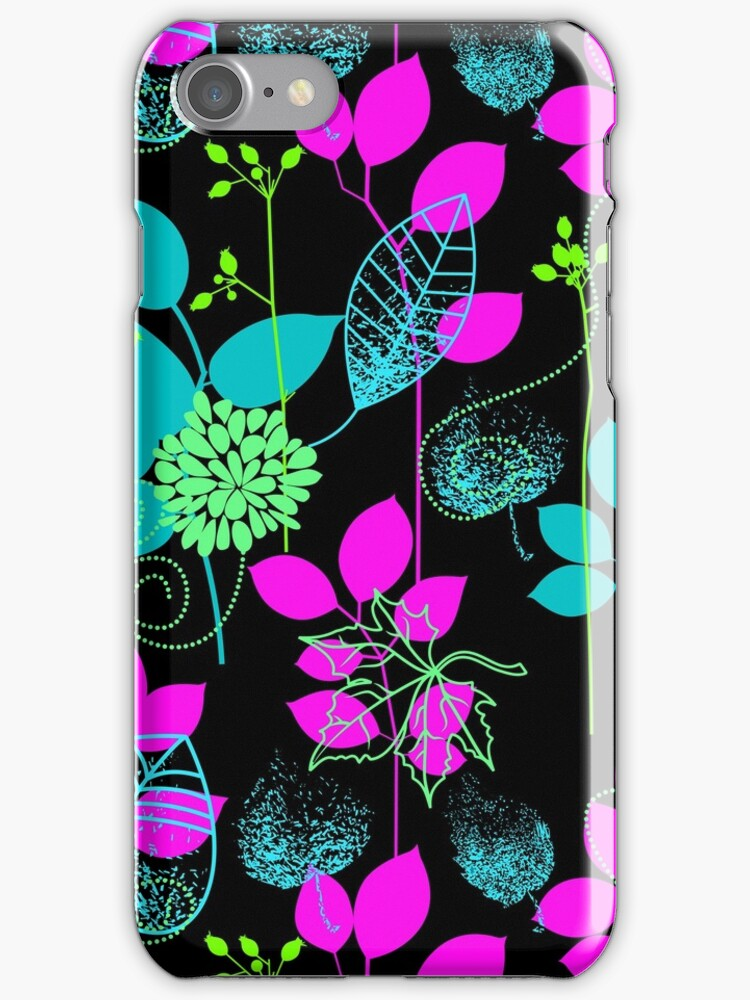 Foliage Fuchsia & Teal [iPhone / iPod Case and Print] by Damienne Bingham