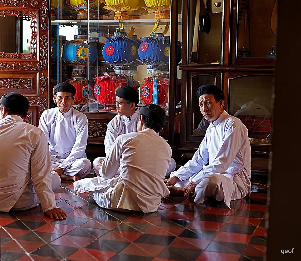 Yeeeess, may I help you?  Cao Dai temple, Tay Ninh. by geof