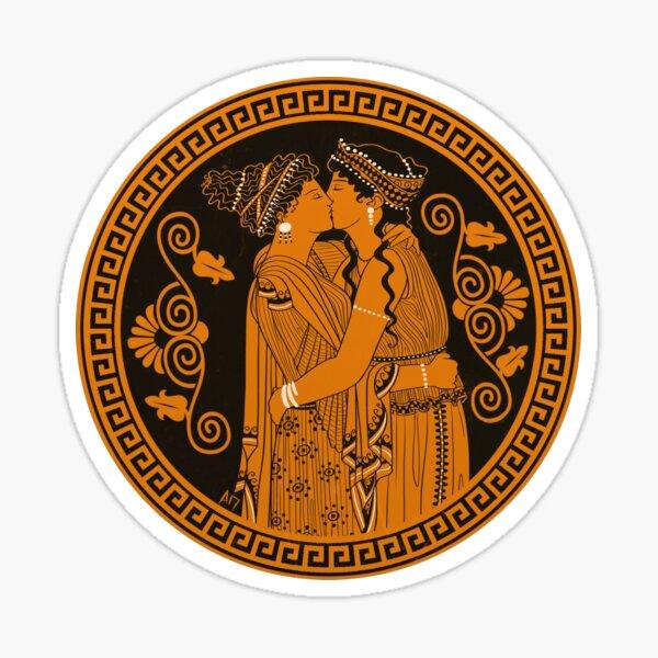 Ancient Greek Lesbians Kiss Sticker