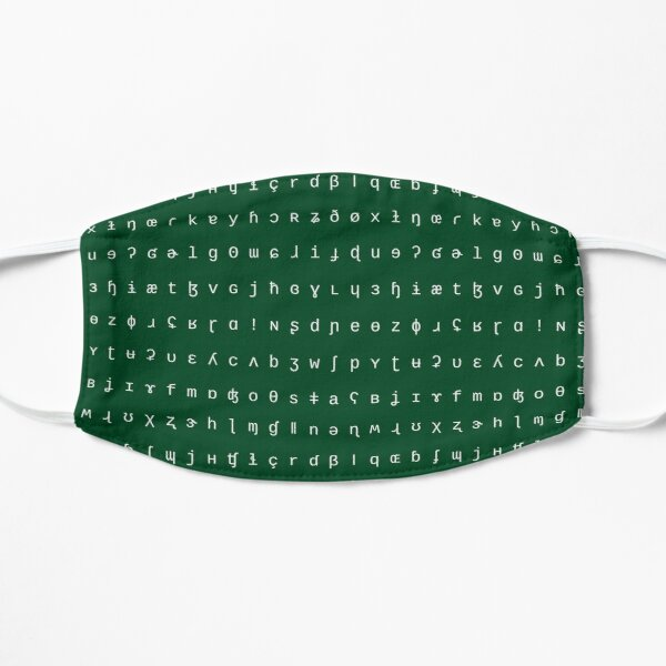 IPA scarf - forest green and white Flat Mask