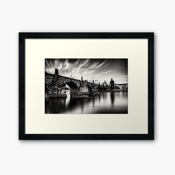 Charles bridge in the windy evening Framed Art Print