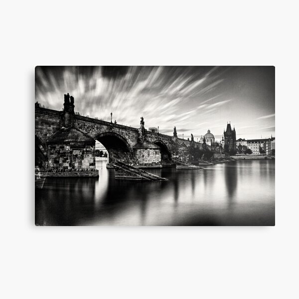 Charles bridge in the windy evening Metal Print