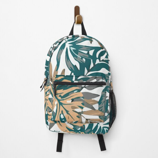 Seamless pattern with tropical leaves spring orange Backpack