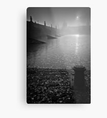 Misty sunrise over Old Bridge Tower Metal Print