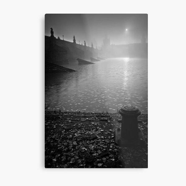Misty sunrise over Old Bridge Tower Metal Print