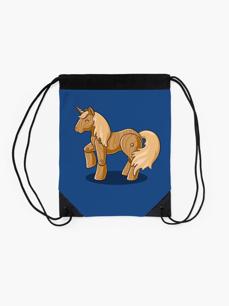 Alternate view of Unocchio the Wooden Unicorn Drawstring Bag