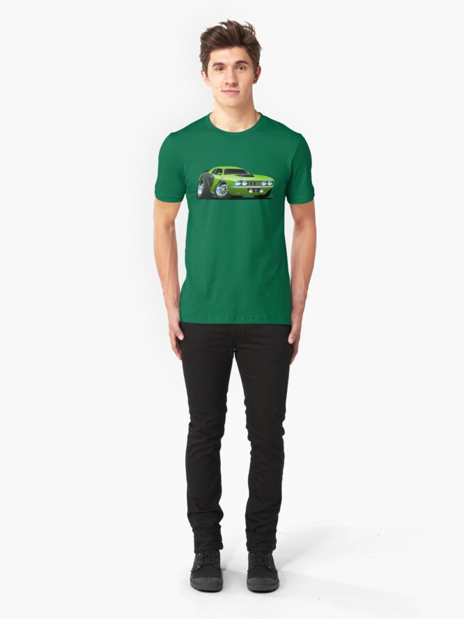 Alternate view of Classic Seventies Style American Muscle Car Cartoon Slim Fit T-Shirt