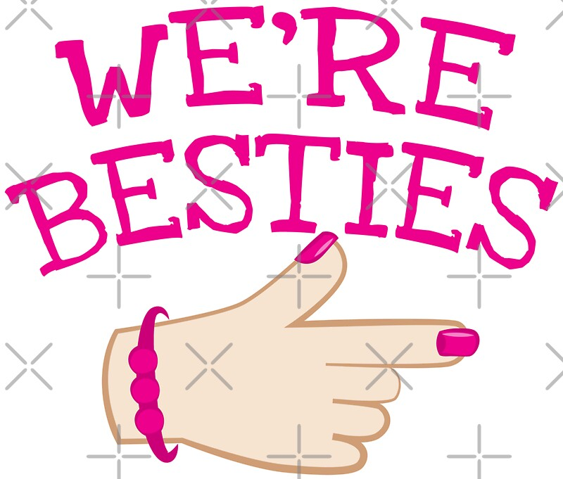 Quot We Re Besties With Pointing Hand Pink Quot Stickers By