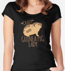 Crazy Guinea Pig Lady Women's Fitted Scoop T-Shirt