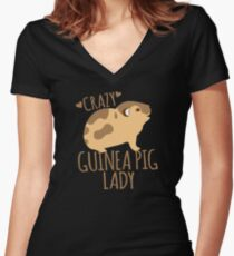Crazy Guinea Pig Lady Women's Fitted V-Neck T-Shirt