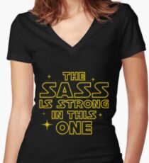 The Sass is Strong in This One Women's Fitted V-Neck T-Shirt